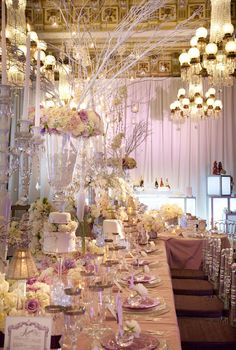 Sugarplum table in the Crystal Room of the Willard Hotel.  By Strawberry Milk Events for Engaged! Magazine Bridal Show