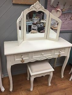 Unbranded Bedroom Country Dressing Tables with Mirror Dressing Table Mirror, Autumn Home, French Vintage, I Shop, Stool, Shabby Chic, Old Things, Vanity, Cream