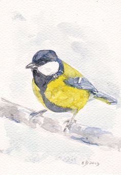 Blue Tit Bird on tree Art PRINT my Original Painting by mallalu, $7.00