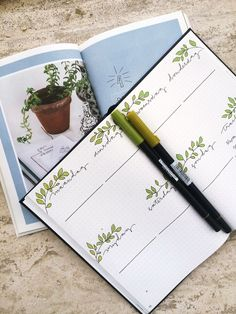 Green weekly spread plant theme by Lona Aalders on Stone Notebook. Stone Notebook is a sustainable bullet journal with hardcover, elastic and reading ribbon. The stone paper pages are water-resistant. Stone paper is naturally bright through the colours of Bullet Journal Planner, March Bullet Journal, Bullet Journal Spread, Bullet Journal Ideas Pages, Bullet Journal Layout, Bullet Journal Inspiration, Bullet Journal Ribbon, Bullet Journal Water Tracker, Bullet Journal Entries