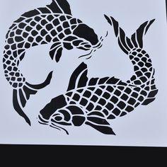 Duplo Padrão de Peixe Pintura de Parede Pintura Stencil Template DIY Reutilizável Arte decoração da Casa de Artesanato Decorativo em Selos de Office & School Suprimentos no AliExpress.com | Alibaba Group