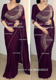 Whatsapp on 9496803123 for customisation of handwork dresses and sarees Saree Blouse Neck Designs, Fancy Blouse Designs, Bridal Blouse Designs, New Fashion Saree, Indian Fashion, Women's Fashion, Saree Embroidery Design, Hand Embroidery, Saree Designs Party Wear