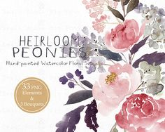 YOU WILL RECEIVE: 300 high resolution dpi  This set contains 36 files files: * 33 PNG elements * 3 PNG floral bouquets/arrangements (approx.