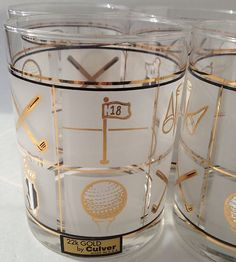 Great set of golf themed Culver 22K gold old fashioned glasses! www.GolfSportMag.com