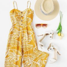 c651cf5eb1 Yellow jumpsuit and wide brim hat. Visit Daily Dress Me at dailydressme.com  for