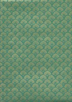 Papier japonais - Motif classique japonais sur fond vert
