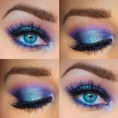 Blaues und lila Augen Make-up, . - Blue and purple eye makeup, Blaues und lila Augen Make-up, blaues und - Eye Makeup Blue, Colorful Eye Makeup, Purple Eyeshadow, Eye Makeup Tips, Smokey Eye Makeup, Makeup Inspo, Eyeshadow Makeup, Eyeliner, Beauty Makeup