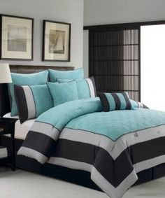 Victor Mill City Stripe California King Comforter Set In X - Black and teal comforter sets