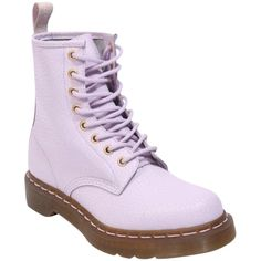 Pre-owned Dr. Martens 8 Eye Lavender Boots ($215) ❤ liked on Polyvore featuring shoes, boots, ankle booties, shoes - boots, purple, lavender, lavender booties, pastel boots, dr martens boots and purple boots
