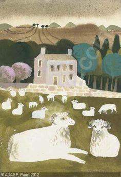 'Eskdale' by Mary Fedden, 1988 High Art, Naive Art, Teaching Art, Landscape Art, Female Art, Folk Art, Sheep Nursery, Contemporary Art, Sheep Paintings