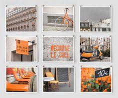 Paris Photography Collection, Orange Wall Art Prints, Paris Decor via Etsy Paris Photography, Fine Art Photography, Photography Projects, Art Mural Orange, Orange Art, Collages, Grand Art Mural, Oversized Wall Art, Paris Decor