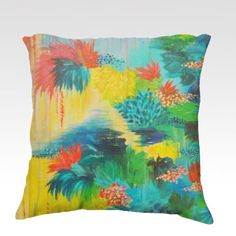 PARADISE WAITS  Lovely 18 x 18 Decorative Velveteen Throw Pillow, Decorative Home Decor Colorful Fine Art Toss Cushion, Modern Bedroom Bedding Dorm Room Living Room Style Accessories  by EbiEmporium, $75.00