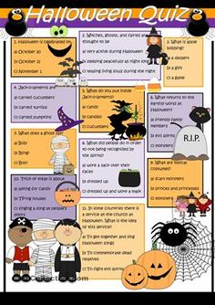 a quiz to be used before or after a study of halloween esl worksheets - Esl Halloween Games