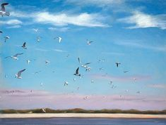 """Masonboro Airshow"" pastel on paper. Uninhabited islands are a huge hit with the shorebirds and I wanted to show them enjoying their freedom in the sky. I needed to depict each bird with only a few strokes and limited values but refuse to resort to the icon ""m"" that many paint to represent birds in flight. . . . . . #shorebird #bird #wildlife #coastal #pastelpainting #art #artist #masonboroisland Shorebirds, Air Show, Birds In Flight, Islands, Coastal, Freedom, Wildlife, Sky, Posts"
