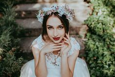 befb55c02 Floral wreath in white and pink colours Wedding accessories Magaela  accessories Handmade product Wreath for brides