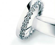 Christian Bauer platinum and diamond wedding bands