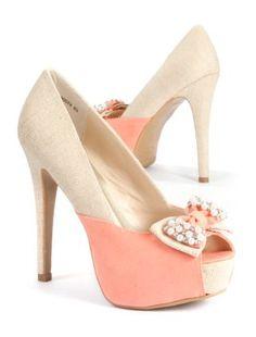 3c29b506f52c Coral (Orange) Pink and Cream Pearl Bow Peep Toe Heels