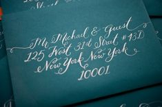 """Compliments of Oh So Beautiful Paper Blog: """"The beautiful envelopes were calligraphed by the uber-talented Jenna of Love, Jenna Calligraphy. Of course, all the pieces were lovingly letterpress printed by hand on our antique press (c. 1896) on beautiful, textural, super thick 220# 100% cotton paper."""""""