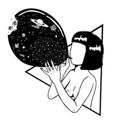 """""""I'm dark matter. The universe inside of me is full of something, and science can't even shine a light on it. I feel like I'm mostly made of mysteries."""" Maria Dahvana Headley ✨ NOT AVAILABLE as a tattoo template! Dark Drawings, Cute Drawings, Arte Dope, Science Art, Line Art, Art Sketches, Illustration Art, Creations, Prints"""