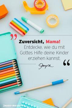 """Hier findest du das Buch """"Zuversicht, Mama"""" von Joyce Meyer. Zweifelst du manchmal auch daran, ob du als Mutter genug bist? Viele Mütter haben mit Verunsicherungen zu kämpfen, während sie ihre Kinder in einer herausfordernden und sich ständig verändernden Welt erziehen. Du bist nicht allein! Gott möchte dir helfen. #joycemeyer #muttertag2021 #frauenpower #muttertagsgeschenk #buchtippsfrauen #erziehung #erziehungstipps #mamasein #ermutigung #zuversicht #kindererziehen #mitgotteshilfe Joyce Meyer, Cheer Up, Disciplining Children, Single Parent, Encouragement, Woman Power, God, First Aid"""
