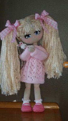 Crochet doll Yarn Dolls, Knitted Dolls, Crochet Dolls, Amigurumi Doll, Amigurumi Patterns, Doll Patterns, Crochet Flower Patterns, Crochet Doll Pattern, Doll Toys
