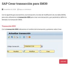 Con la siguiente guía asociaremos una transacción a la vista de modificación de una tabla (SM30). Trx, Create