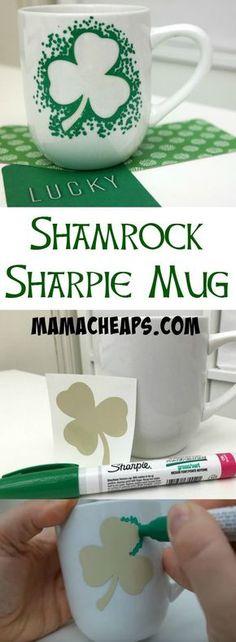 Shamrock Sharpie Marker Mug - St. Patrick's Day Craft (Silhouette Tutorial)