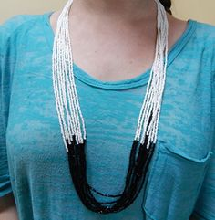 Multi-strand black/white seed bead necklace