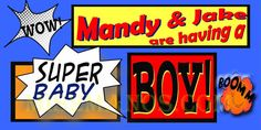 Comic Book  Baby Shower Banner 2x4 by M2MPartyDesigns on Etsy, $35.00