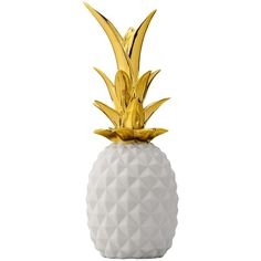 Bloomingville Pineapple Decoration in White and Gold (495 NOK) ❤ liked on Polyvore featuring home, home decor, bloomingville and pineapple home decor