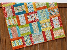 Bright Baby Boy Quilt Mixed Bag Whimsical Red, Blue, Yellow & Green Handmade…