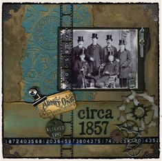 Tim Holtz some of his products in a scrapbook page. Not my page but it gives me lots of ideas.