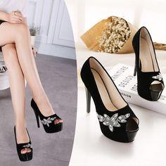 2016 Spring New Fashion Super High Heels Sexy Stilettos Peep Toe Women Pumps 14cm Black Sexy Platforms Shoes alishoppbrasil