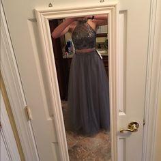 2 piece prom dress grey size 2 2 piece prom dress, never worn, size 2, grey, beaded top Dresses Prom