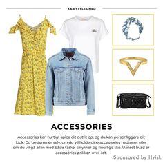 Styling by johanneappel - Hvisk Stylist Community #hvisk #hviskstylist #hviskjewellery #fashion #outfit #jewellery #jewelry #accessories #yellow #blue #white #ring #bag #gold #black #inspiration #girl #summer