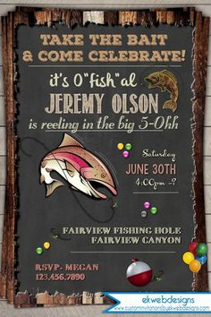 Fishing birthday party invitation printable by khudd on etsy 1000 fishing birthday invitation invite 30th 40th 50th 60th birthday invitation vintage rustic printable filmwisefo