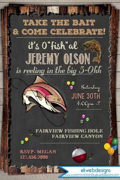 Fishing Birthday Invitation / invite - 30th 40th 50th 60th birthday invitation - vintage rustic Printable