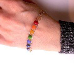 "Bracelet ""Open your Chakra"" Silver bracelet 4 gemstones 3 beads Birthday gift Wedding"