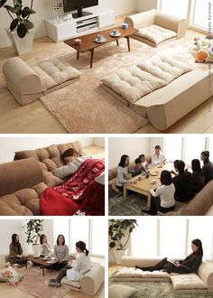 Good thing: Free-style low sofa RelaQua [リラクア] floor sofa living sofa corner sofa beige - Purchase now to accumulate reedemable points! Room Interior, Interior Design Living Room, Living Room Sofa, Living Room Decor, Living Spaces, Floor Couch, Floor Cushions, Japanese Living Rooms, Floor Sitting