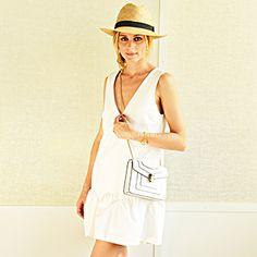 Day 22:  Dress by Elizabeth and James, Bulgari cross-body bag, BCBG hat, Habbot oxfords. #30Looks30Days