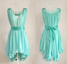 Angelic Spring Summer. Teal Blue Chiffon Wavy Hem Sleeveless Dress