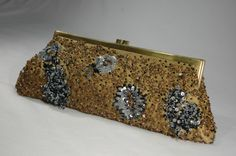 Gold Beaded Evening Bag Santi Bugle Beads by WhiteCabbageVintage