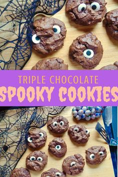 Thick, soft and full of chocolate, these Triple Chocolate Spooky Cookies are a perfect gluten free Halloween treat!
