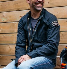 A shop favorite from the moment we stocked it. Made of 14oz water-repellent, breathable, and tough waxed cotton - this is an all around great looking jacket that combats the wet and cold. Waxed Canvas Jacket, Motorcycle Riding Gear, Riding Jacket, Bomber Jacket, Cotton, Jackets, Men, Shopping, Down Jackets