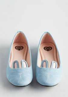 Furry Up, We're Dreaming Flat in Sky | Mod Retro Vintage Flats | ModCloth.com