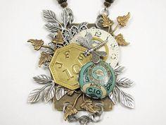Upcycled Jewelry Mixed Media Assemblage Steampunk by thekeyofa. $130.00, via Etsy.