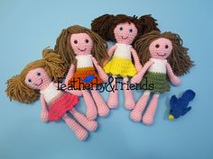 Four sister dolls, custom ordered to match four sisters!