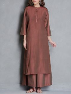 Buy Brown Pintuck & Button Detailed Katan Silk Kurta Online