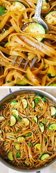 Spicy Thai Zucchini Noodles with toasted sesame seeds. Asian comfort food!