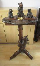 """Gros 35.5"""" forêt noire ours boîte à musique smoking side table sculpture sur bois suisse"""